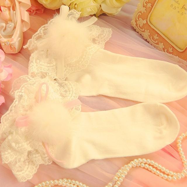 Princesa meias lolita doce chuva de primavera de 2016 novo japonês doce laço arco branco meias de algodão crianças wazi01