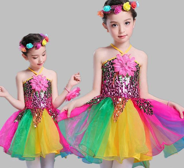 a20ae87c6404 Child Sequins Jazz Dance Colorful Dress Ballet Costumes For Girls  Kindergartens Ballroom Modern Dance Tutu Stage
