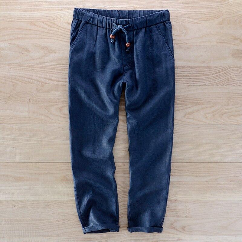 Hombre Gray Hommes Taille dark Blue Casual Style longueur Pur Mode Lâche Américain white Pantalon Color Cheville linen 40 Marque Lin BOXAxF6nq