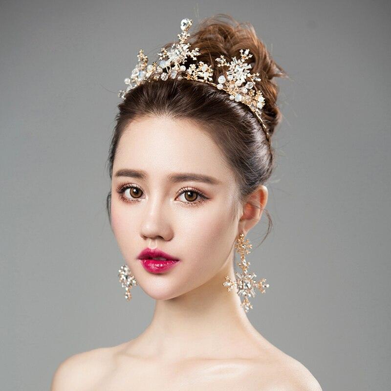 Baroque Crown With Earrings Set Bridal Tiaras Wedding Hair Accessories Headband Tiara Diadem Girls Party Hair Jewelry