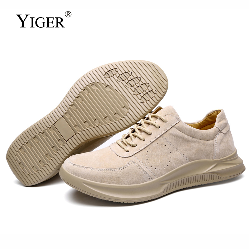 YIGER New Men Casual Leisure Shoes Big Size Genuine Leather Man Leather Lace-up Male Sports Shoes Pig Skin Spring/Autumn   0252