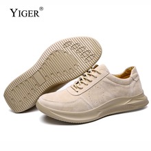YIGER New Men casual Leisure shoes Big size Genuine Leather Man lace-up Male sports Pig skin Spring/Autumn  0252