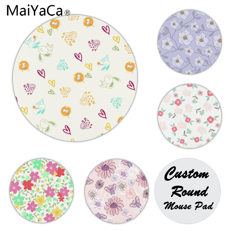 MaiYaCa Vintage Cool Bright Flowers mouse pad gamer play mats Size for 20x20cm 22x22cm Rubber Mousemats