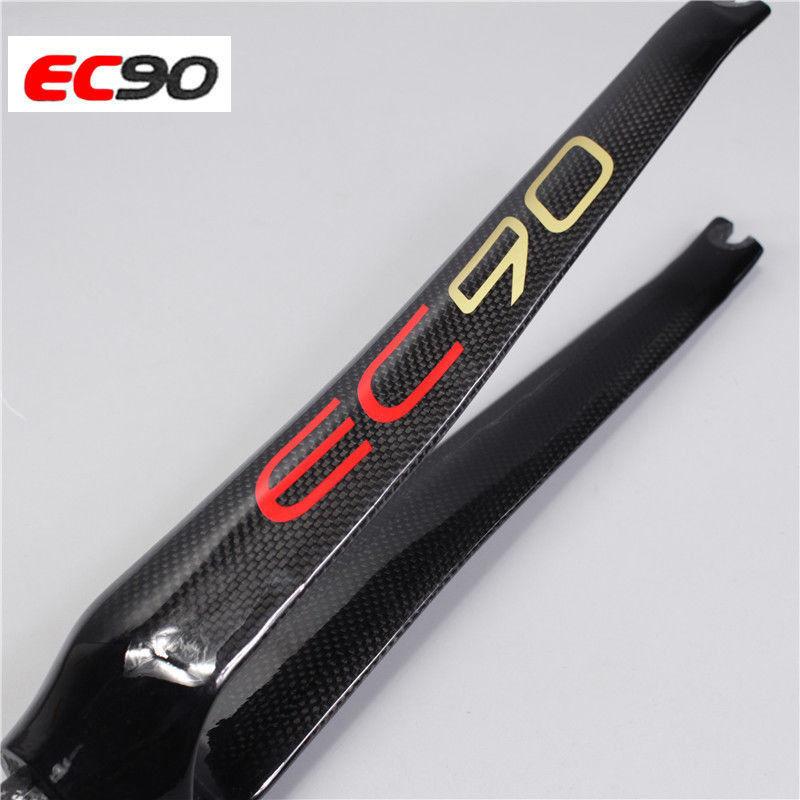 EC90 700C Fork Carbon Fiber Road Bike Fixed Gear Threadless Carbon Fork Straight Steerer Rigid Front