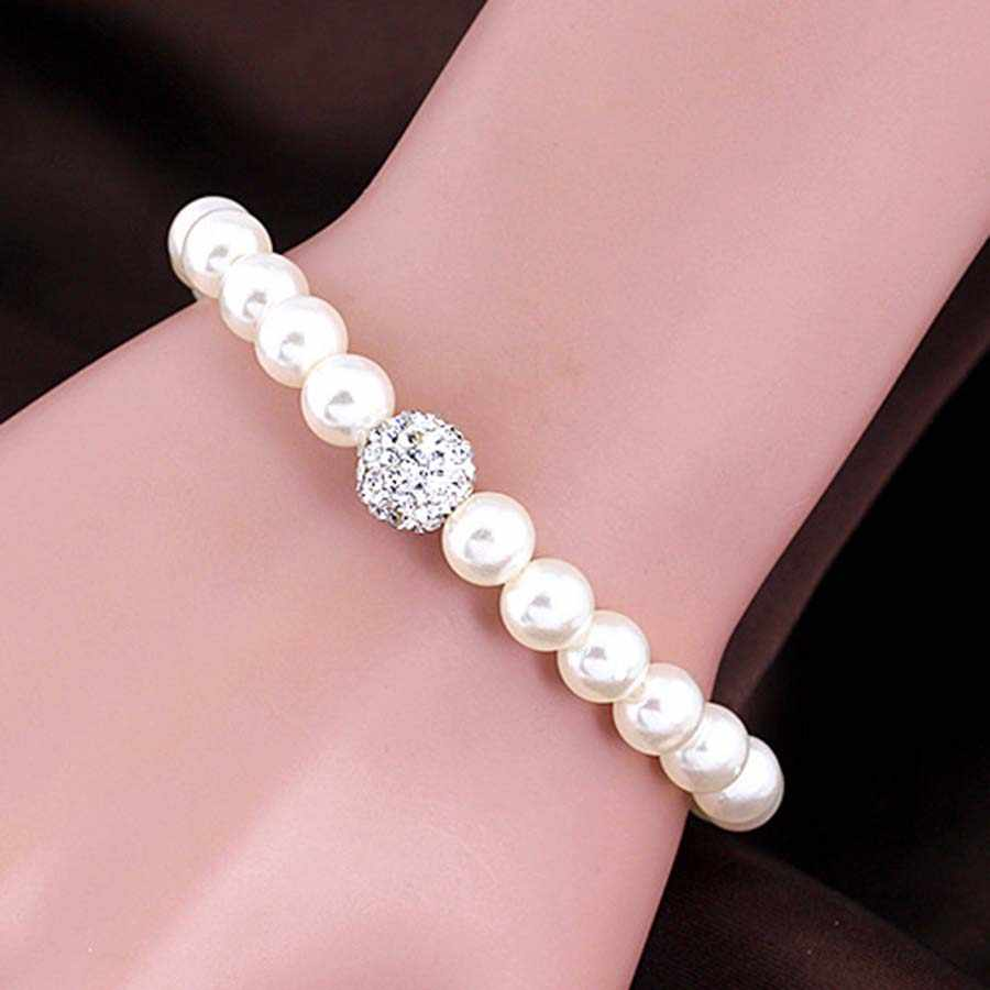 New Fashion AAA Crystal Ball Imitation Pearl Jewelry Sets for Women Bead Necklace Earrings Bracelet Bridal Wedding Gift