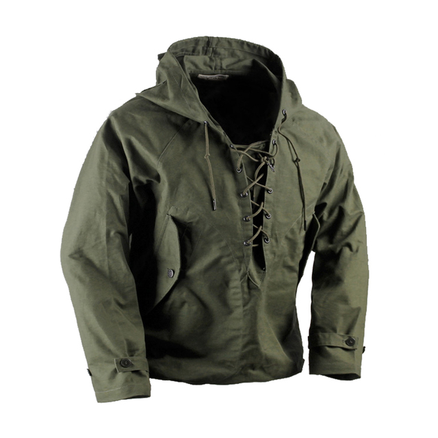 7596ac5814 USN Wet Weather Parka Vintage Deck Jacket Pullover Lace Up WW2 Uniform Mens  Navy Military Hooded Jacket Outwear Army Green