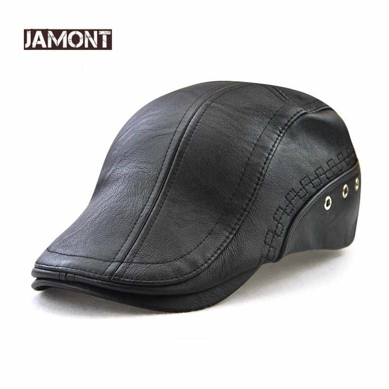 JAMONT 100% искусственная кожа кепка газетчика Зимние береты Мужская теплая шляпа козырек модная кепка с надписью Snapback Кепка s для мужчин Bone Кепка с металлической буквой