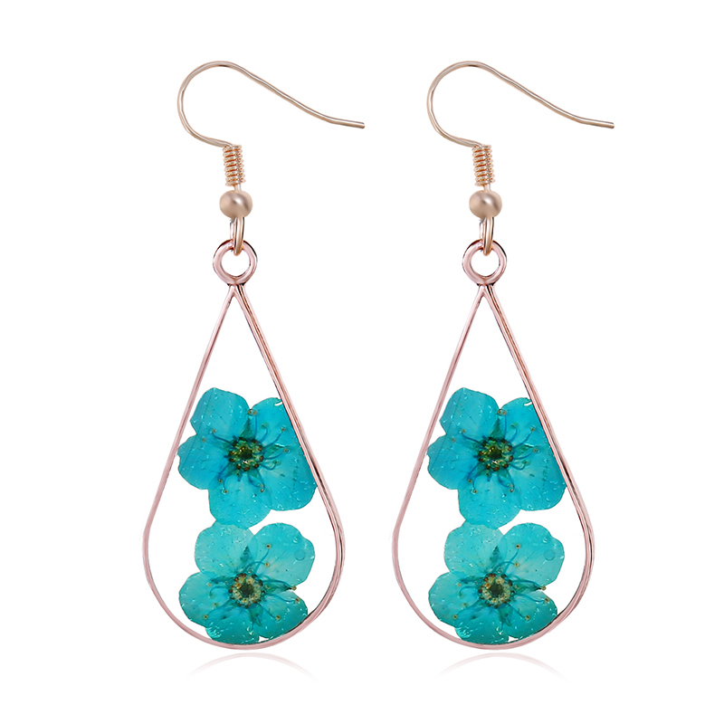 Houbian Drops Natural Dried Flower Earrings Rose Gold Resin Flower Earrings