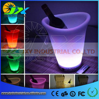 2014 Fashion Design Plastic Champagne Led Ice Bucket For Barware Decoration Color Changing And Unique Led