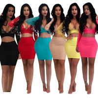 Sexy Deep V neck Women Lace Perspective Leisure Clothing Suits Slim Fit Casual Night Club Sexy Short Shirt and Skirt Women Sets