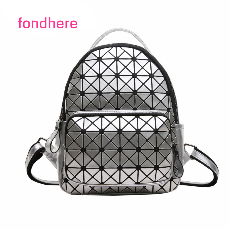fondhere Women Backpack Small Geometric School Backpack Shoulder Bags Girls Laser Bag Mini Backpacks Travel Back pack women laser backpack geometric shoulder bag student s school bag luminous backpack laser sequins folding bags daily backpacks