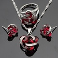Made in China Silver Color Jewelry Sets Round Red Created Ruby Earrings/Pendant/Necklace/Rings For Women Christmas Free Box