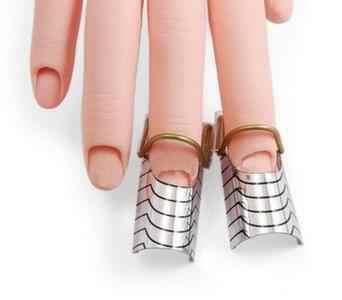1 conjunto (5 pçs) reutilizável dupla prata forma de unhas para fazer arte do prego c curva acrílico francês dicas + frete grátis (NR-WS34)