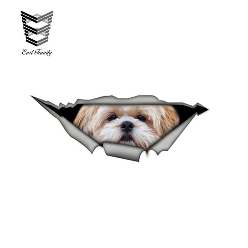 EARLFAMILY 15 см x 6 см Shih tzu 3D забавная наклейка для автомобилей Pet наклейка с собакой креативные модифицированные наклейки s водонепроницаемые наклейки для автомобилей украшения