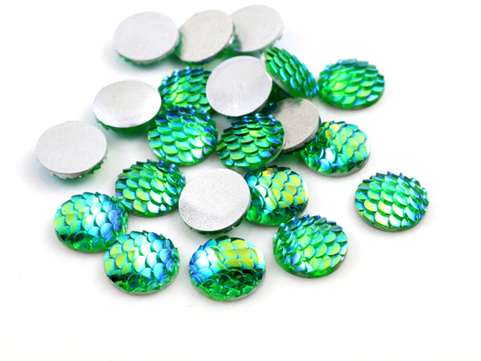 New Fashion 40pcs 12mm Green AB Colors Fish Scale Style Flat Back Resin Cabochons For Bracelet Earrings Accessories-Z4-32