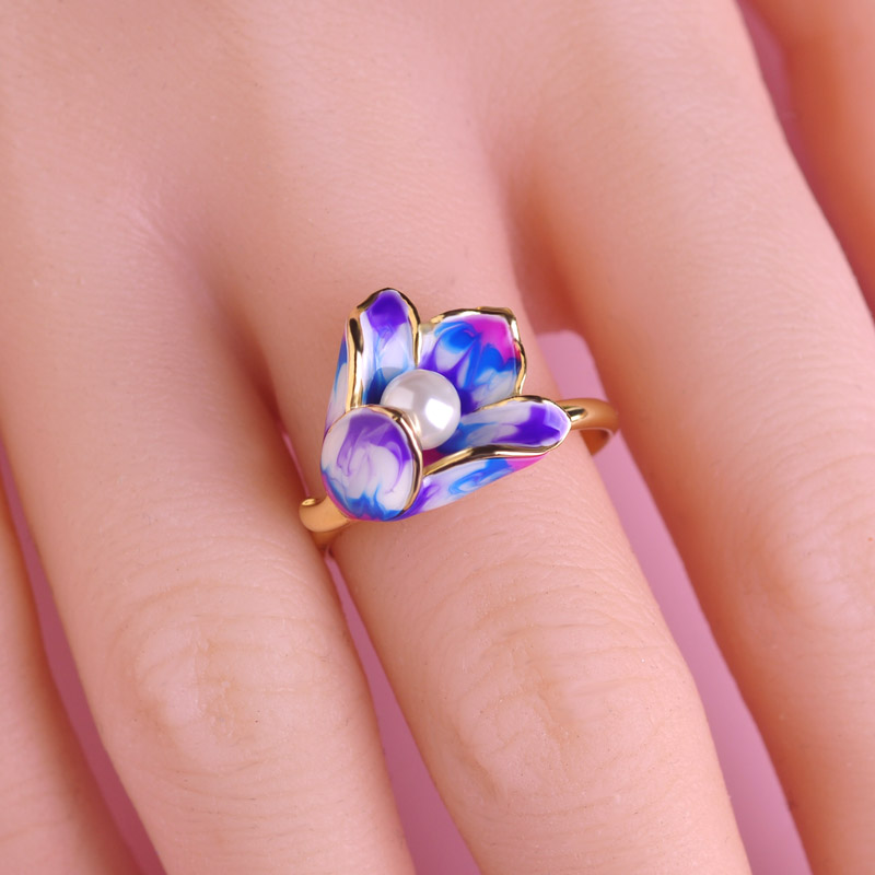 Madrry Fashion Enamel Jewelry Sets Earrings&Ring Gold color Pearl Flower Brincos Anillo Brand Wedding Party Schmuck Sets 2