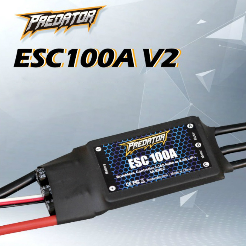 FMS ESC 100A V2 with 5A SBEC Speed Controller Brushless 2s 6S for RC Airplane Model Plane Drone Boat Car Helicopter Spare Parts