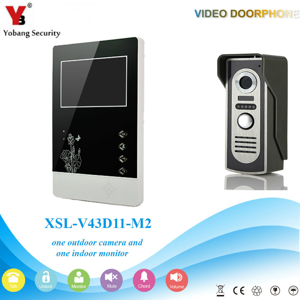 YobangSecurity 4.3Inch Color Wired Video Door Phone System Visual Intercom Doorbell with 1 Monitor 1 Outdoor Camera Rainproof door intercom video cam doorbell door bell with 4 inch tft color monitor 1200tvl camera