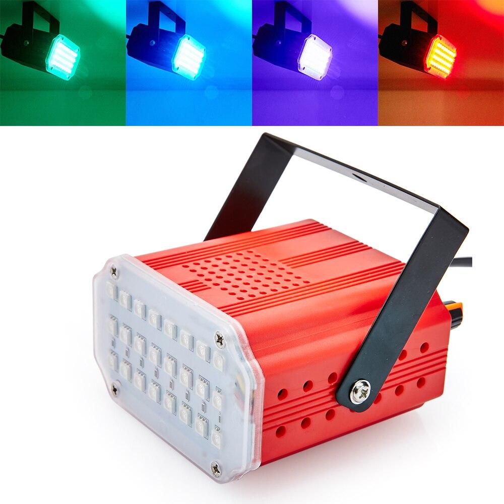 Mini Sound Control 24RGB SMD5050 LED Stroboscope Disco Party DJ Bar Strobe Light Music Show Colorful