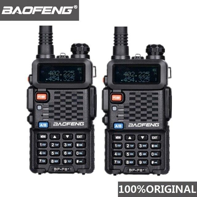 2個オリジナルbaofeng F8 + 長距離woki土岐警察トランシーバートランシーバー5キロ範囲双方向ラジオwalkyトーキーアマチュア無線のhf受信機