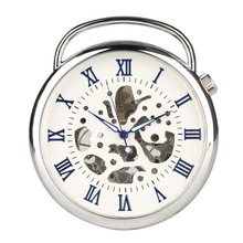 Hand Operated Mechanical Pocket Watch for Man, Silver Case Blue Roman Digital Watches Boys, Large Teenager