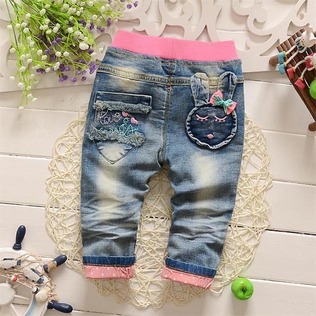 2016 nova primavera crianças roupas meninas calças Arco coelho Dos Desenhos Animados meninas calças de brim calças de brim da roupa do bebê 0-3 anos