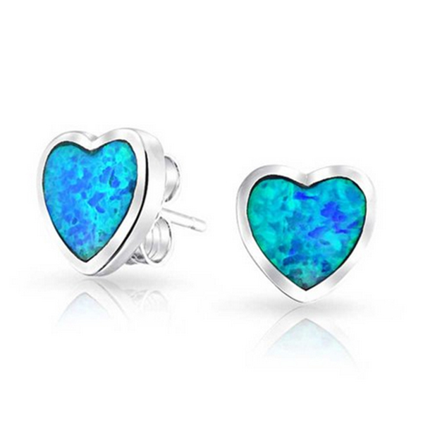 Haimis Whole Retail Small Cute Synthetic Blue Fire Opal Heart Shaped Women Ear Stud Earrings Oe192 Free Gift Box In From Jewelry
