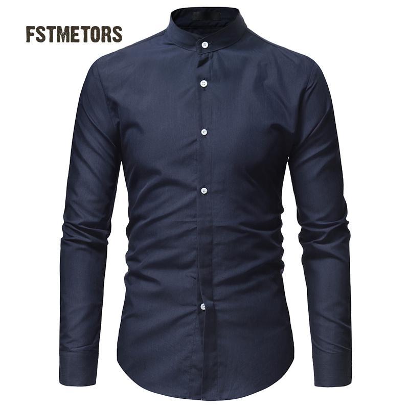 2018 Fstmetors Herbst Mode Mann Shirt Kultivieren In Die Farbe Doppel Led Freizeit Männer Langarm-shirt