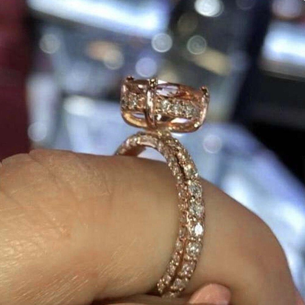 Hot Sale Luxury Engagement Ring With Full Shiny Rhinestone Ring Jewelry Gift For Women Girls