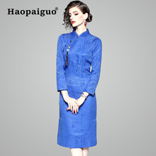 Hot Blue Print Chinese Women Vintage Dress 2019 New Year Casual Midi Cheongsam Slim Bodycon Elegant Plus Size M L XL XXL