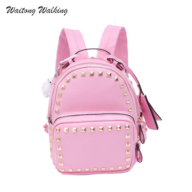 2017 Women Backpacks Leather Waterproof School Bags For Teenage Girls Ladies Rivet Pandent Mini Shoulder Bagpack
