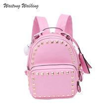 2017 женские рюкзаки кожаные водонепроницаемые школьные сумки для девочек-подростков дамы заклепки Pandent плечо рюкзак Mochila 450