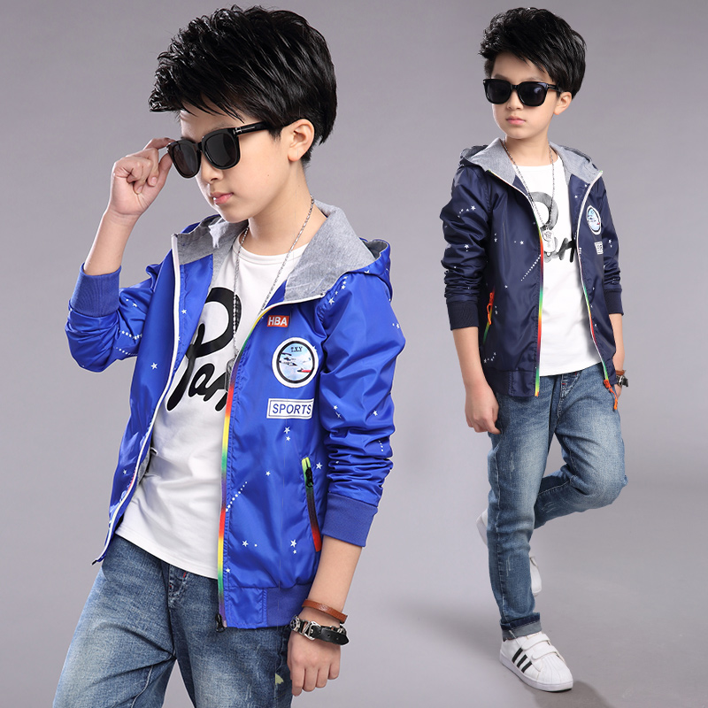 Free shipping new 2017 boys jacket brief paragraph coat jacket in the spring and autumn outfit children male big hooded casualFree shipping new 2017 boys jacket brief paragraph coat jacket in the spring and autumn outfit children male big hooded casual