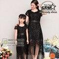 Плюс Размер XL Новый 2016 Семья Matching Clothing Кружева Длинные Платья Для Дочь И Мать Matching Прекрасный Одежда Европейский Стиль