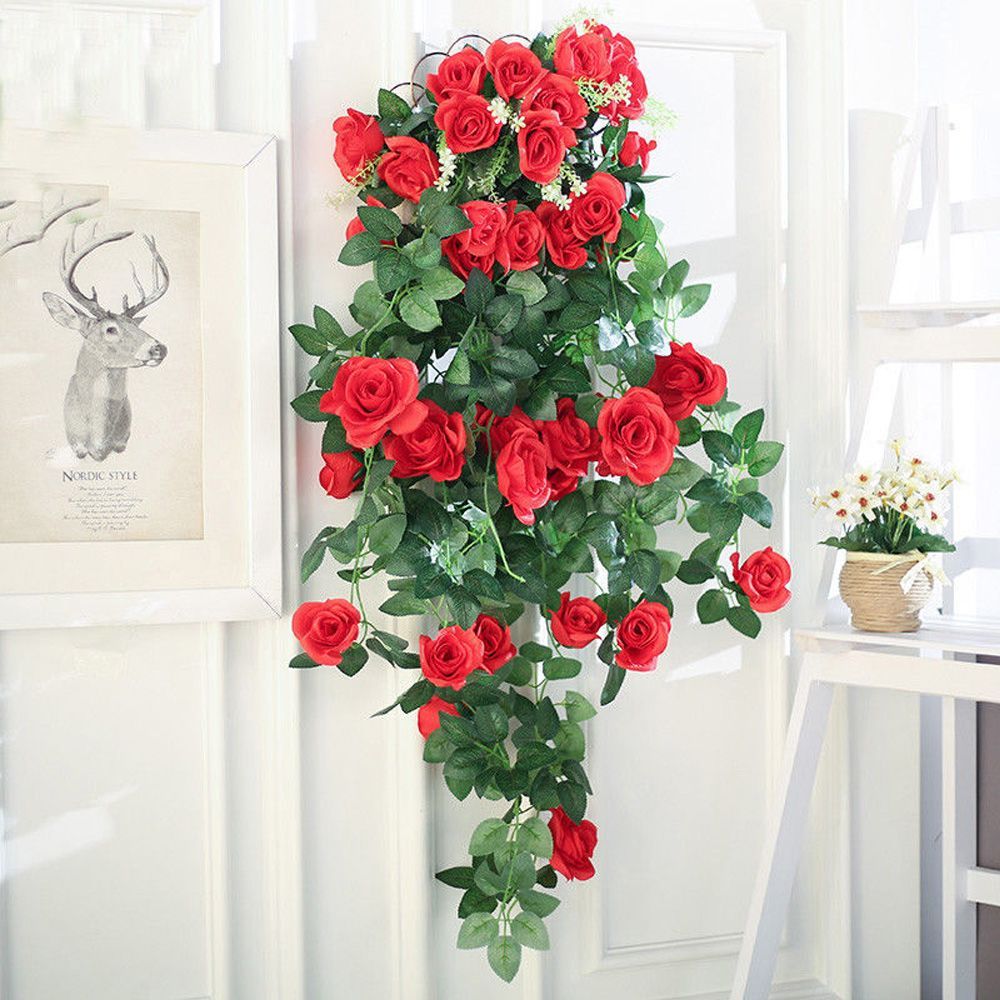 2.2m DIY Artificial Flowers Home Decoration Red Pink Purple Fake Rose Flower Vine Home Wedding Decor fake rose flowers