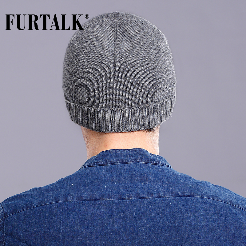 46bba35003b5d FURTALK 100% Wool Cashmere Men Winter Hat Knit Skullies Beanies Hats Male  HTWL093-in Skullies   Beanies from Apparel Accessories on Aliexpress.com