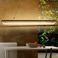 Simple Office Chandelier Modern Living Room Restaurant Lighting Personality Rectangle Bar Hanging LED Chandelier