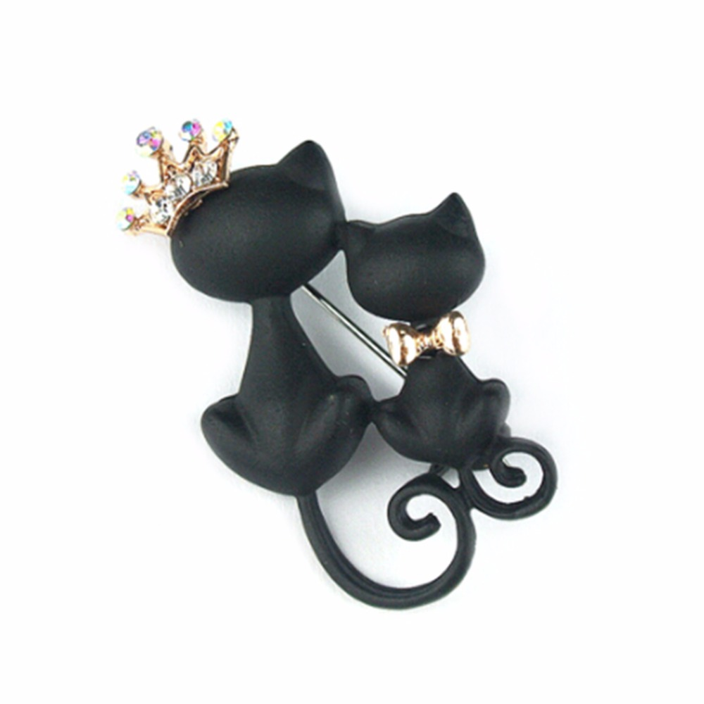Cute Black Cat Pin Rhinestone Crown Queen Cat Brooches for Women Bouquet Hat Scarf Dress Brooch suit belt buckle