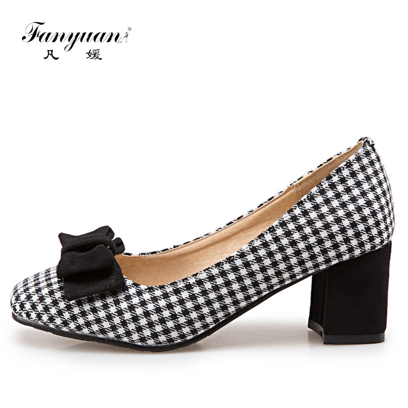Fanyuan Women Med Chunky Heels 2018 Spring Ladies Shoes Round Toe Mix color Casual Shoes Woman Sweet Butterfly-knot Women Pumps egonery shoes 2017 spring and autumn concise wedges butterfly knot pumps simple lace up sweet round toe women fashion high heels