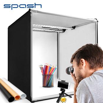Spash podświetlana tablica zdjęcie 60 cm protable photo studio miękkie pudełko z 3 kolorowym tłem fotografia stół namiotowy lightbox sesja zdjęciowa tanie i dobre opinie CN (pochodzenie) 60*60*60cm 2 6kg Pakiet 1 Polyester fabrics+ABS M60II AC 110V or 220V DC 12V 5500K+ -200K MAX 15000LUX