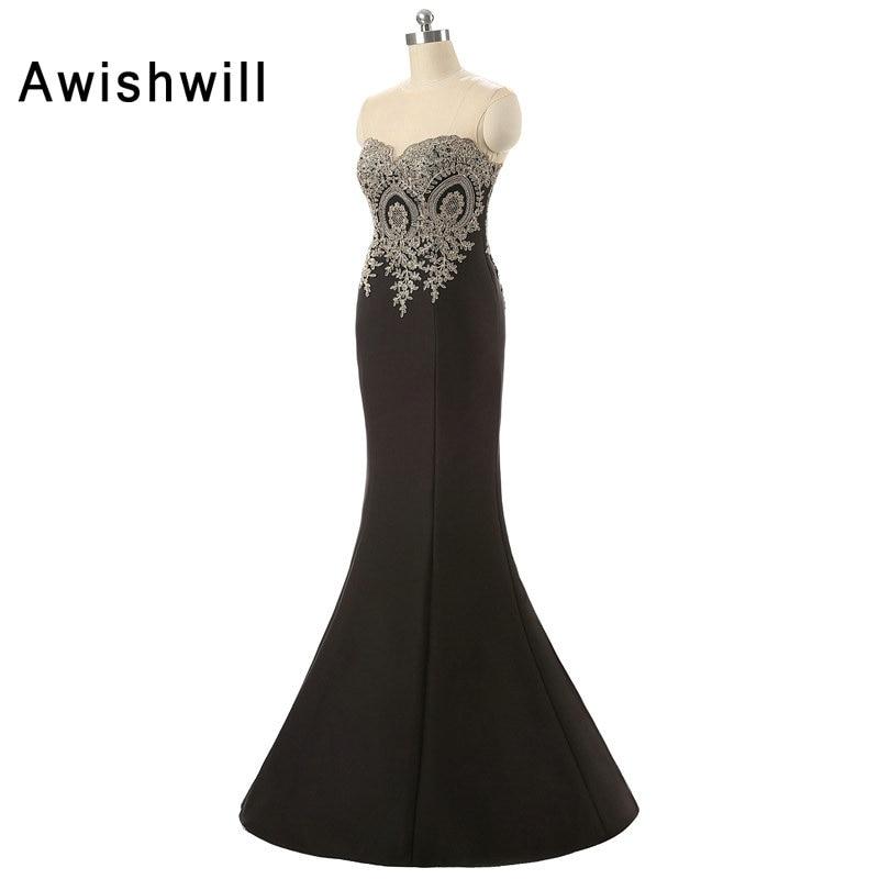 Ζεστό πωλούν αμάνικες δαντέλες εφαρμογές σατέν μήκος μήκους μαύρο μακρά τυπική βραδινή φόρεμα γυναίκες γυναίκες μακρύ γοργόνα Robe Soiree Longue Femme
