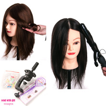 100% real human hair head dolls for hairdressers 16 brown training professional Mannequin can be curled with gift