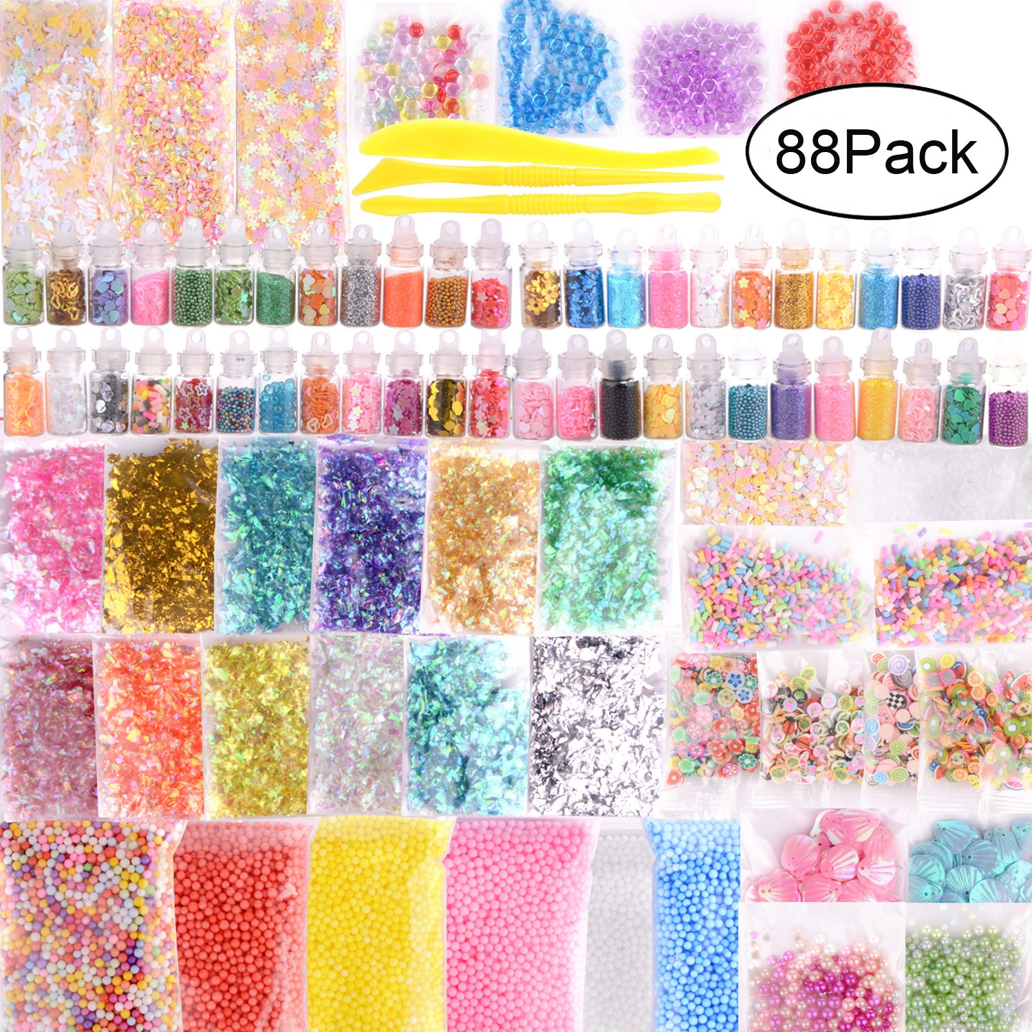 88Pcs 3D Fluffy Foam Slime Foam Balls Kids Toys DIY Craft Slime Supplies Kit Floam Beads Glitter Slices Rainbow Pearl