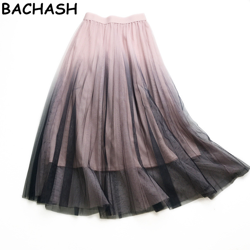 BACHASH 2018 Harajuku Women Long Skirt Saia Two Layer High Waist Tulle Skirt Mesh Boho Women Maxi Skirt European 3 Color Skirt