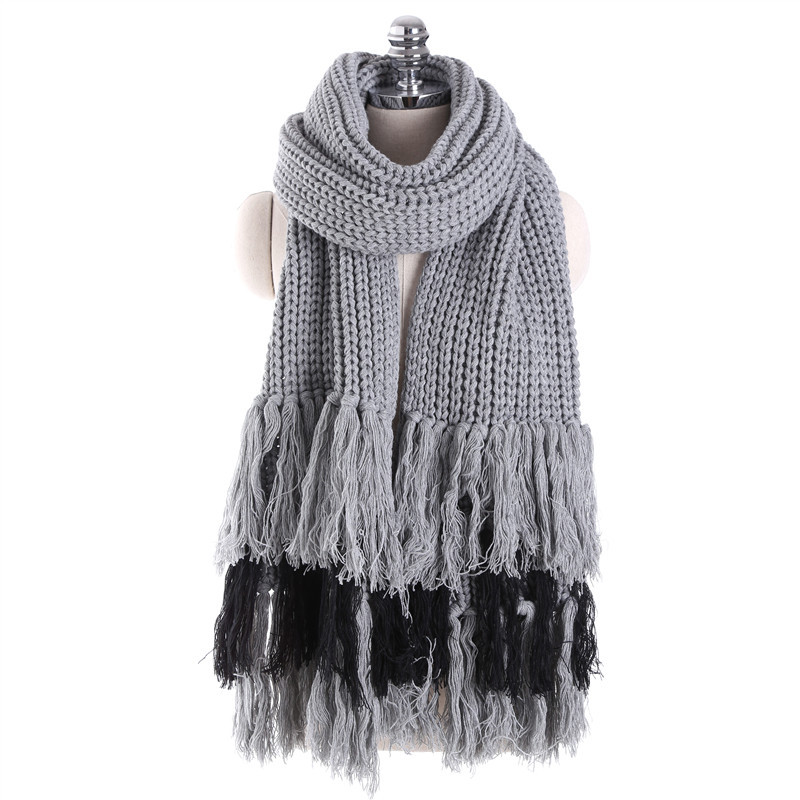Small Chili With Warm Winter Knitting Scarf Youth All-match Sieboldii Thickened Air Conditioning Shawl Tassels Shopping Tide