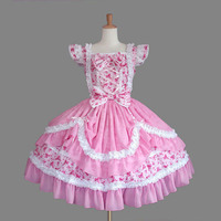 Customized 2018 Sweet Pink Women's Lolita Dresses Pink Sleeveless Cosplay Costume For Halloween Drop Shipping