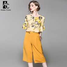 spring summer runway designer woman clothing set yellow floral pattern print t-shirt calf-length pantsuit vintage office suit