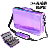 Cool Laser Colors 160 Holes Colors Pencil Case Large Capacity PU Colored Pencil Bag Pen Box For Student Gift Art Supplies Gift