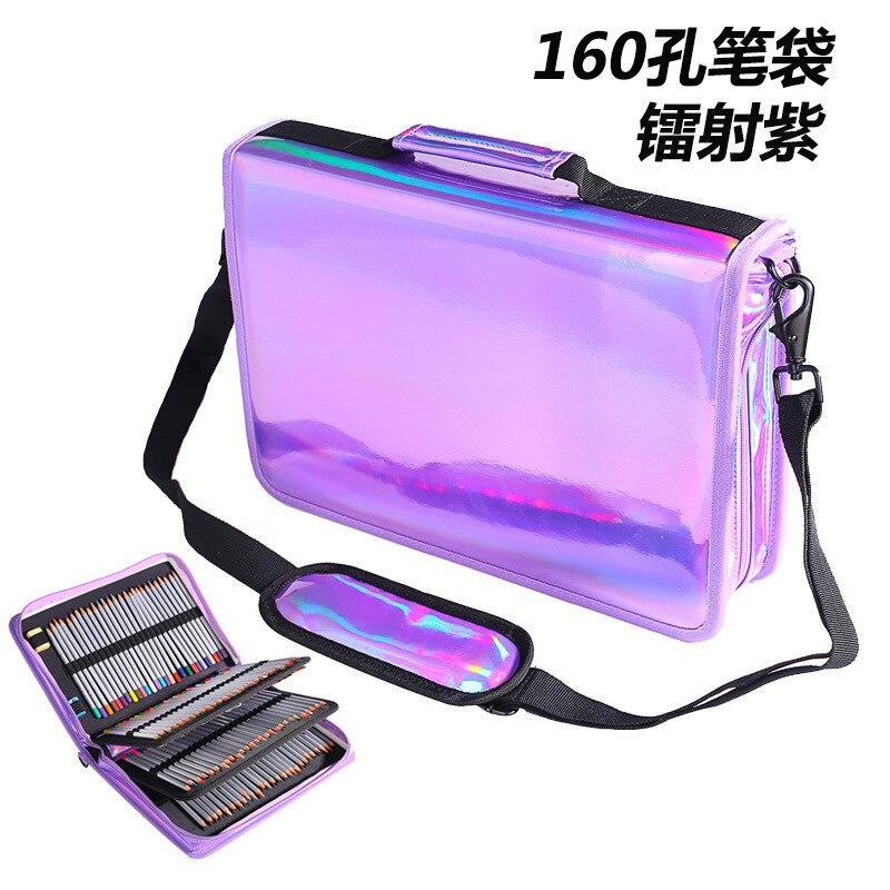 Cool Laser couleurs 160 trous couleurs porte-crayon grande capacité PU couleur crayon sac stylo boîte pour étudiant cadeau Art fournitures cadeau