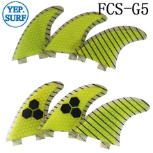 Quilhas Surf FCS Fibreglass Fins G5 Yellow Honeycomb Fin Free Shipping